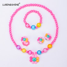 LUBINGSHINE Princess Style Girls Necklace Bracelet Finger Ring Earrings Jewelry Sun Flower Set Resin Imitation Pearl JJAL T224(China)
