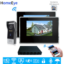 HomeEye 720P WiFi IP Video Door Phone Video Intercom 1to 2 Home Access Control System Android IOS App Remote Unlock Touch Screen wireless 4g wifi 720p video door phone intercom doorbell ip system remote unlock alarm monitor for android ios phone app
