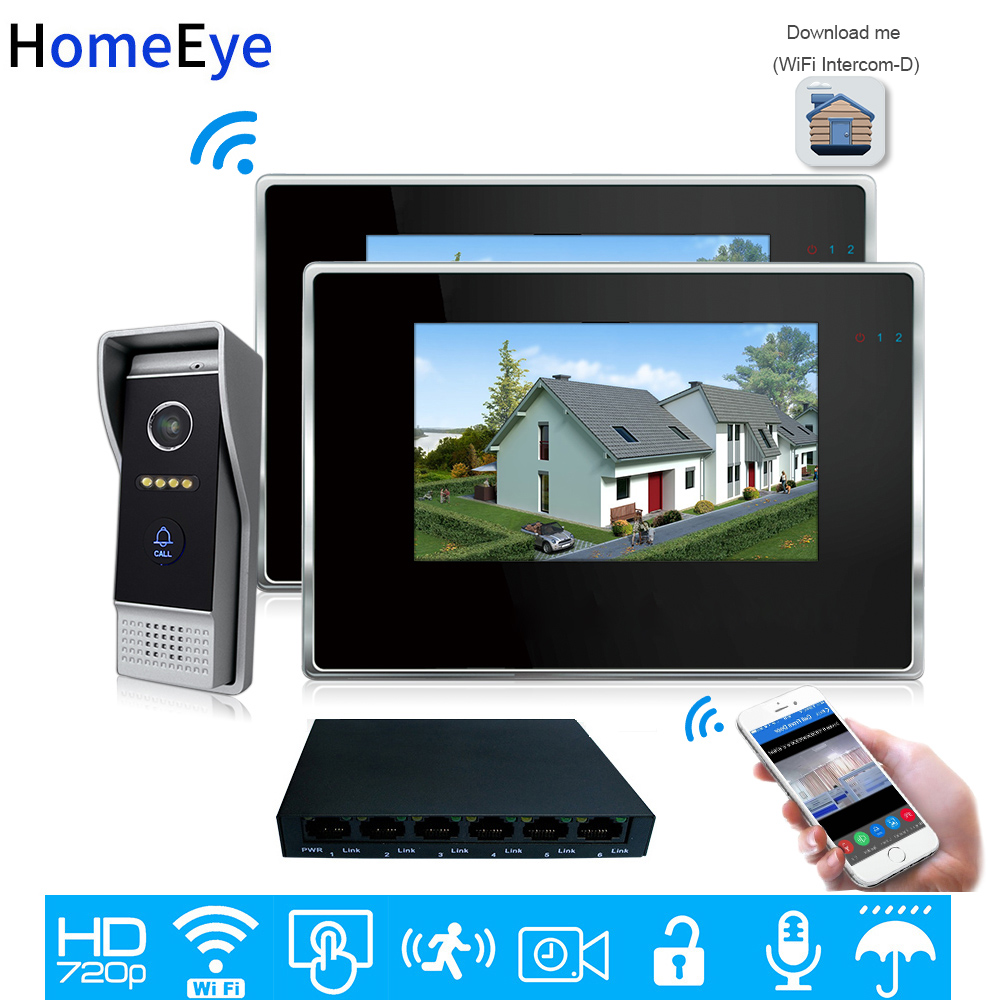 HomeEye 720P WiFi IP Video Door Phone Video Intercom 1to 2 Home Access Control System Android IOS App Remote Unlock Touch Screen image