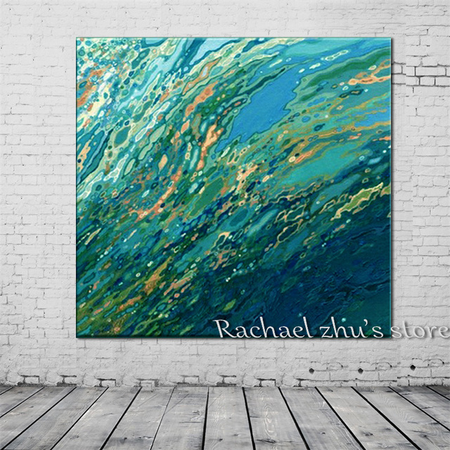 handpainted abstract sea wave oil paintings on canvas hotel hall