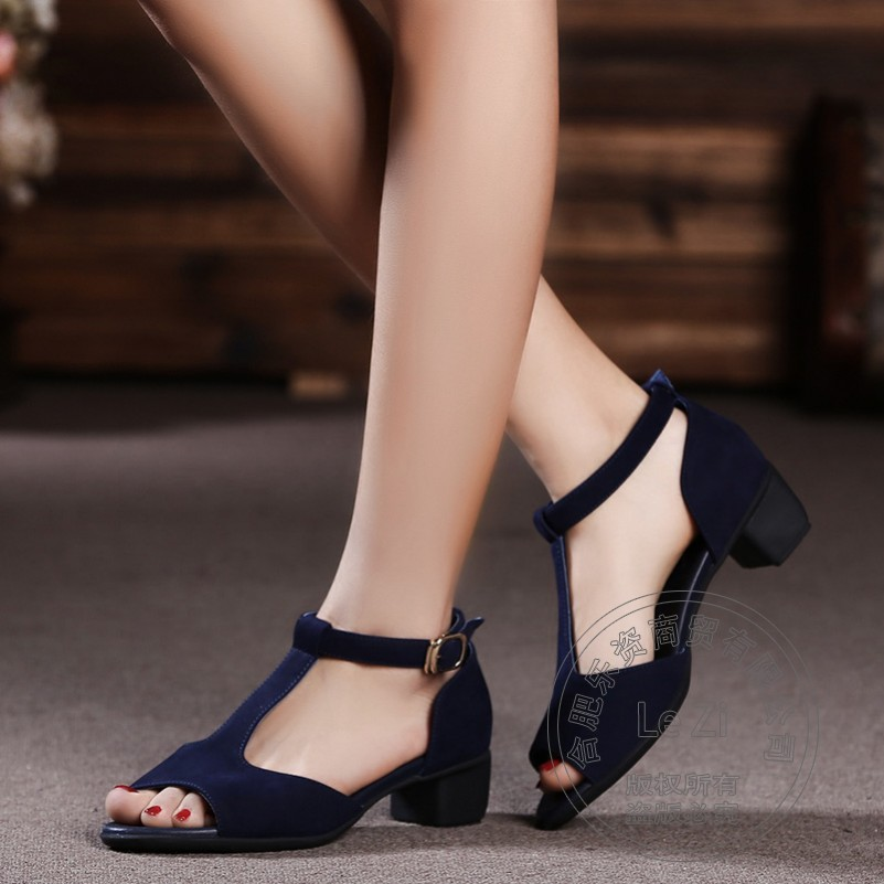 Square Heel Short Celebrity Blue font b Women b font Autumn Genuine Leather Shoes China Soft