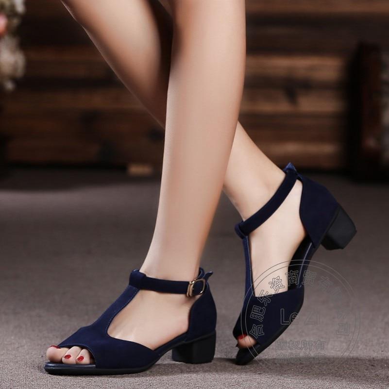 Square Heel Short Celebrity Blue font b Women b font Autumn Genuine Leather Shoes China Soft