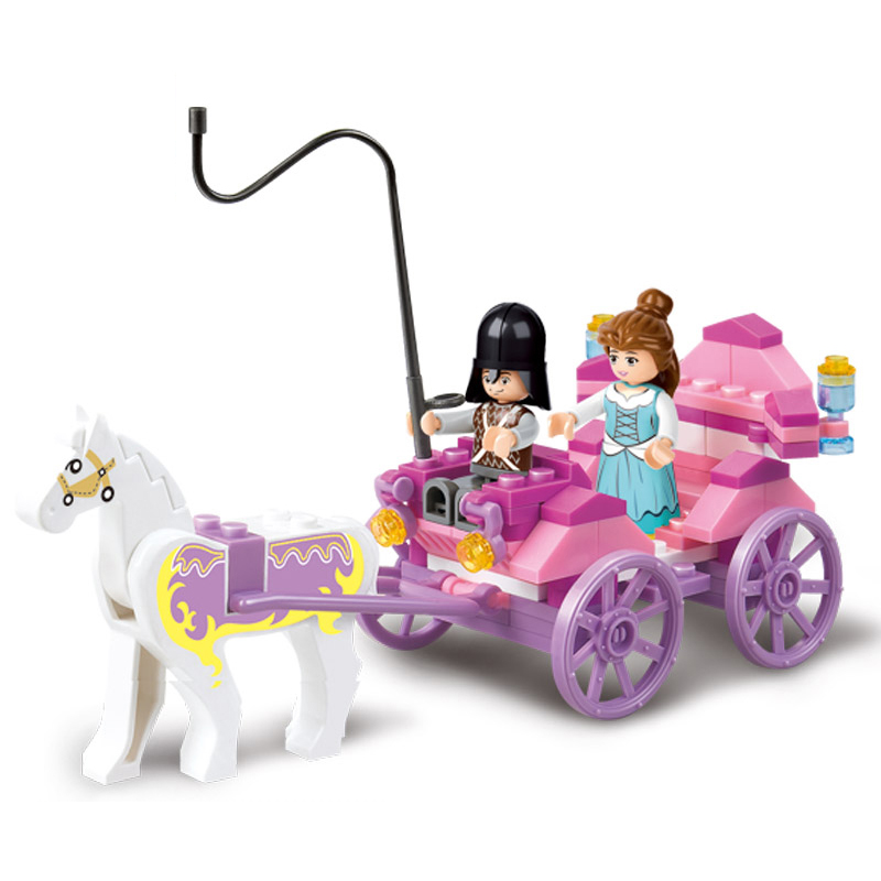 SLuban 0239 99PCS Girl Friends Royal Carriage Wagon Model Building Blocks Enlighten Figure Toys For Children Compatible Legoe