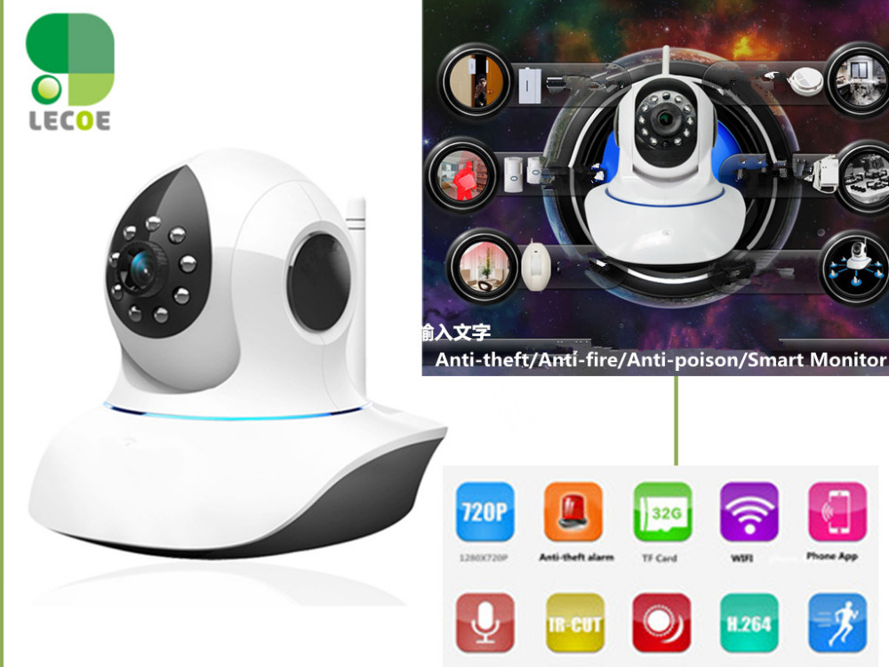 Wireless 720P HD IP Camera Smart P2P Wifi Surveillance Security Cam support Wifi 433 Mhz Sensors