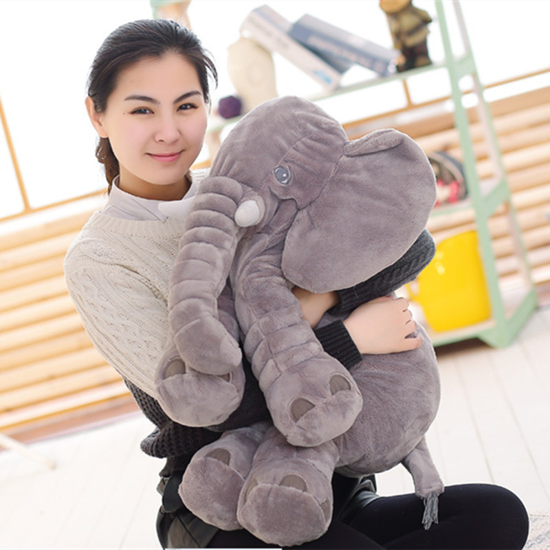 BOOKFONG 40/60 cm Playmate Infantil Apaziguar Elefante Elefante de Pelúcia Macia Boneca Calma Bebê Elefante de Brinquedo de Pelúcia Travesseiro Brinquedos boneca de pelúcia