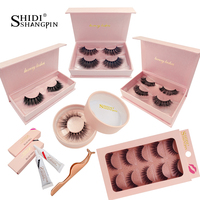 SHIDISHANGPIN lashes kit natural long false eyelashes hand made 3d mink fake eyelash extension lash makeup tool mink eyelashes