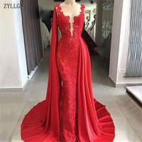 eaea227af343c ZYLLGF Arabic Red Lace Evening Dresses 2019 Aibye Muslim Luxury Formal  Tulle Long Party Dress Turkish