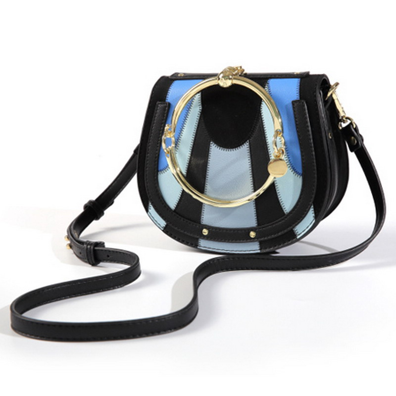 Fashion Designer European Style Women Bag Casual Metal Ring Lady Crossbody Bag Handle Small Women Shoulder Saddle Hard Handbag