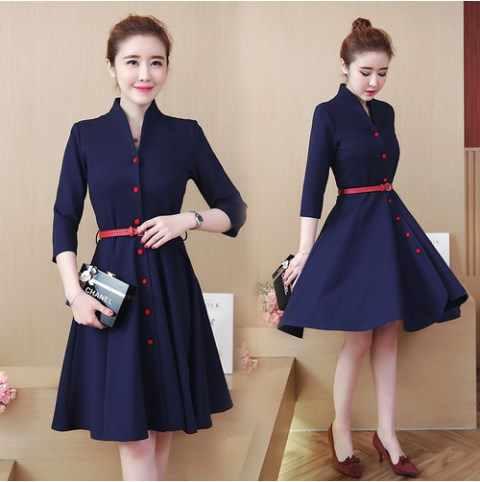 8420c0201dfa Vestidos Robe Korean Women Dress 2018 New Plus Size Elegant OL Office  Workwear Knee-Length