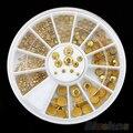 5 sets 5 Sizes Acrylic Glitter Gold Rhinestone Nail Art Salon Stickers Tips DIY Decorations 51HO smt 101