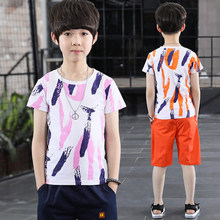 Teenage Boys Clothing Set 2019 Summer Print Kids Teenagers Sports Suit Tshirt+Shorts Tracksuit Boy 5T 6T 8T 10T 12T 14 Years 5t to 14 years kids