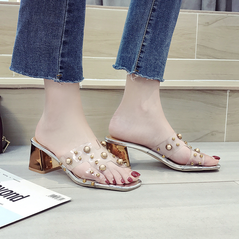 Phyanic PVC Transparent Womens Slippers 2018 Summer Fashion Chunky High Heels 6cm Pearl Clear Slides Ladies Woman Beach Shoes