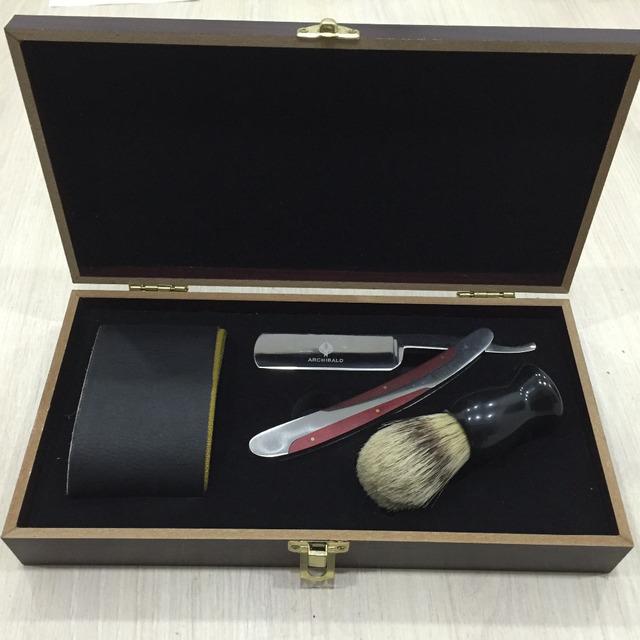 Barbeiro Em Linha Reta Faca de lâmina de Barbear Rasoir Shavette + Pincel de Barbear + afiação Strop Strap Cinto + Caixa de Madeira 4 Em 1 De Barbear conjuntos