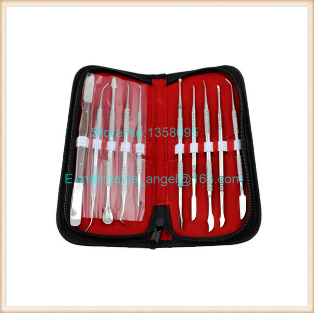 Free Shipping Wax Knife Kit include 10 Pieces Blade,Dental Instruments Equipment Carve Kit Sculpture Knife Bag
