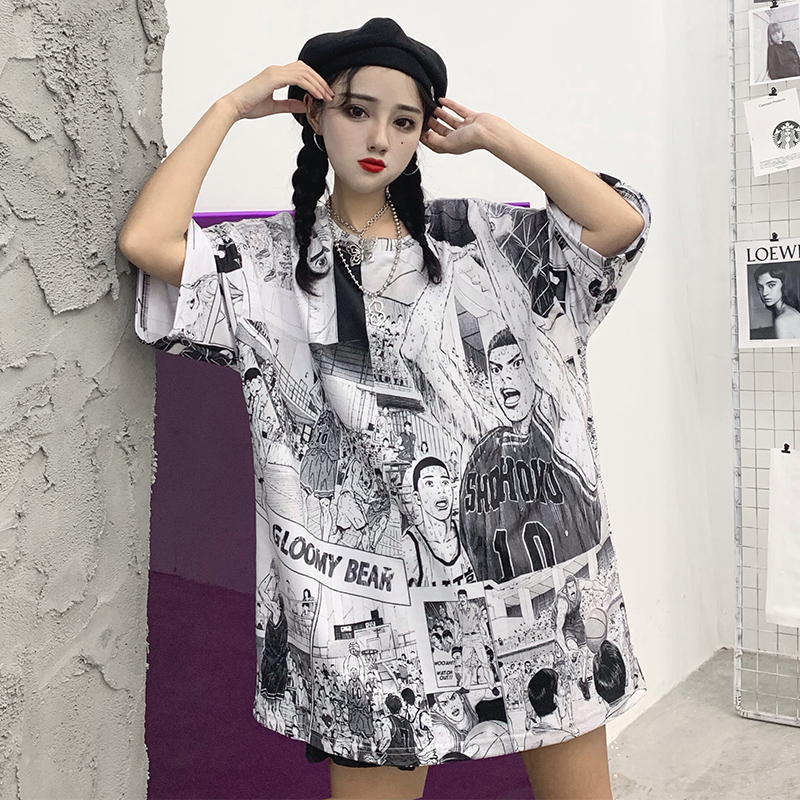 Japanese cartoon anime print   T     shirt   summer Casual Loose   T  -  shirts   Female harajuku Hip-Hop Women tee Large size short sleeve Tops