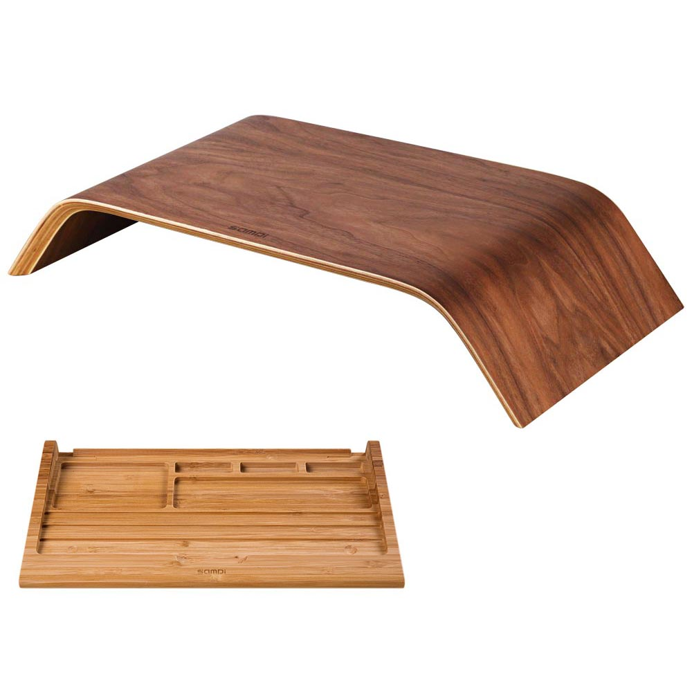 samdi laptop computer wooden stand dock holder bamboo keyboard stand for imac pc notebook laptop. Black Bedroom Furniture Sets. Home Design Ideas