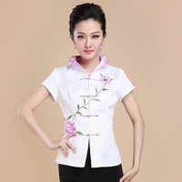 New Arrival White Vintage Embroidery Flower Blouse Chinese Women Cotton Shirt Summer Hot New Fashion Tops