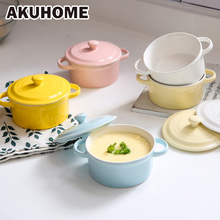 Ceramic Rice Bowl Tableware Candy Double Handle Soup Bowls Simple and Creative Salad Cutter Bowl Akuhome