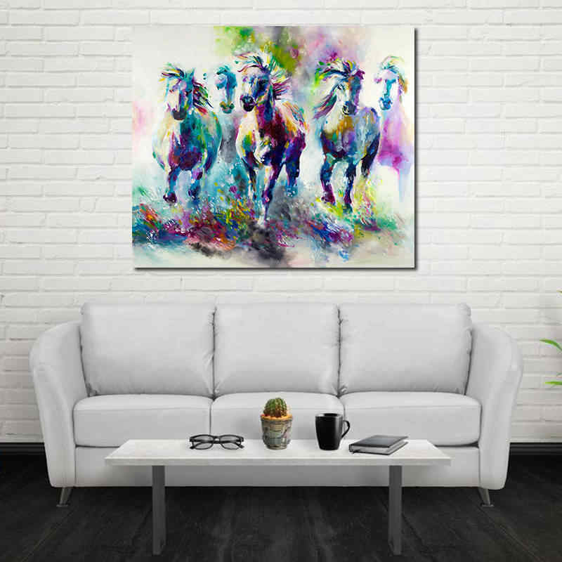 Abstract Colorful Running Horse Painting  HD Print Modern Home Painting Modular Pictures/Poster For Living Room Home Decor