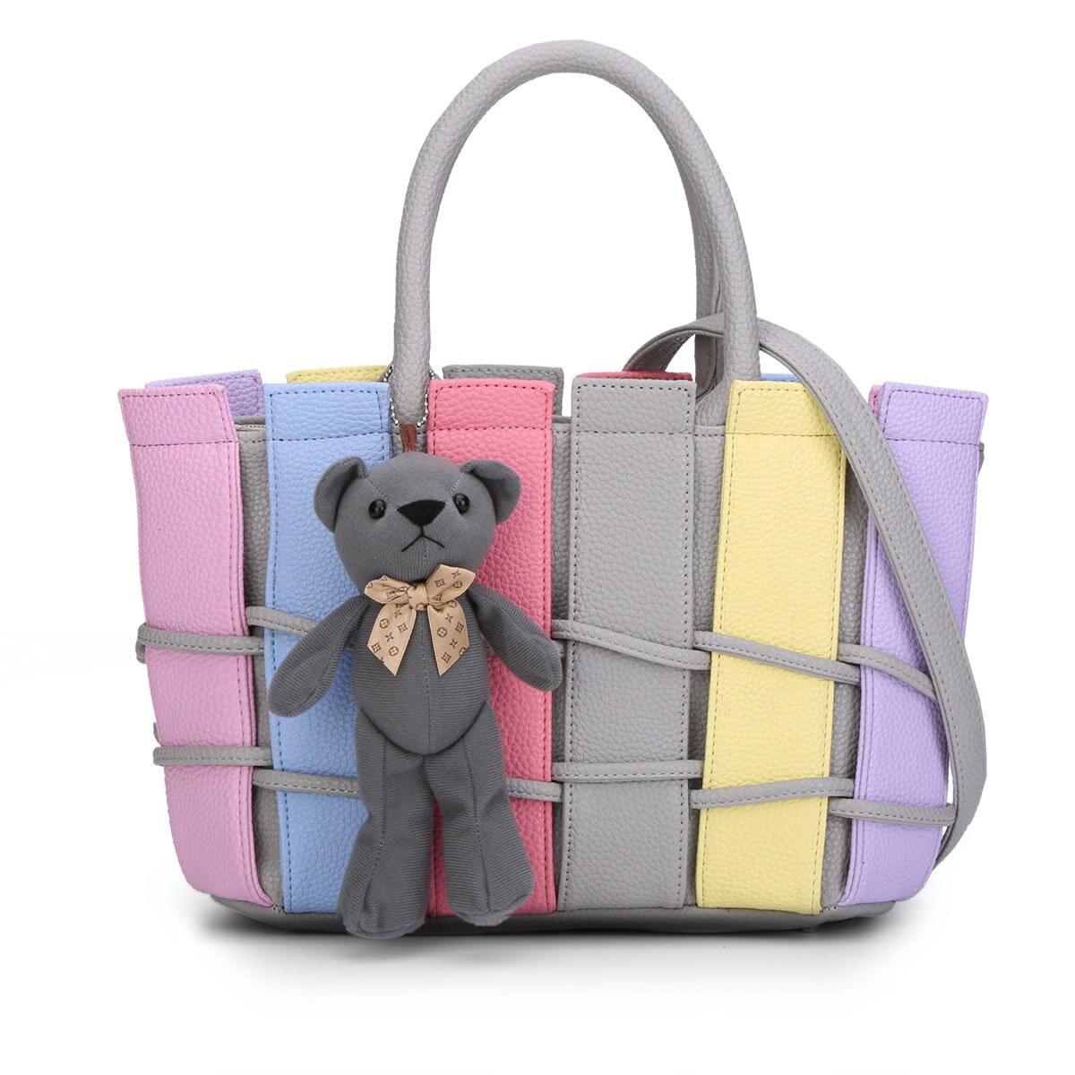 Femmes PU cuir sacs à main mignon ours sac en peluche balle pendentif épaule bandoulière sacs dames Designer fourre-tout sacs à main
