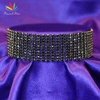 Paon Étoiles Lady Nuptiale De Noce De Bal 10 Rangée Noir Strass Ras Du Cou Sexy Pageant Bijoux CC023