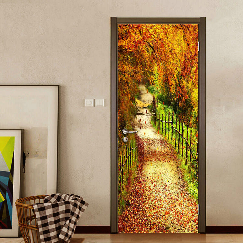 3D DIY Door Sticker Wall Mural Home Decor Vinyl Wallpaper PVC Waterproof Tree Forest Small Road Door Decor Photo Wall Paper 3D