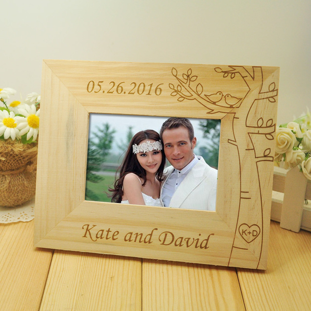 Personalized Wedding Photo Frame Wooden Pictures Frames Rustic Home Decor