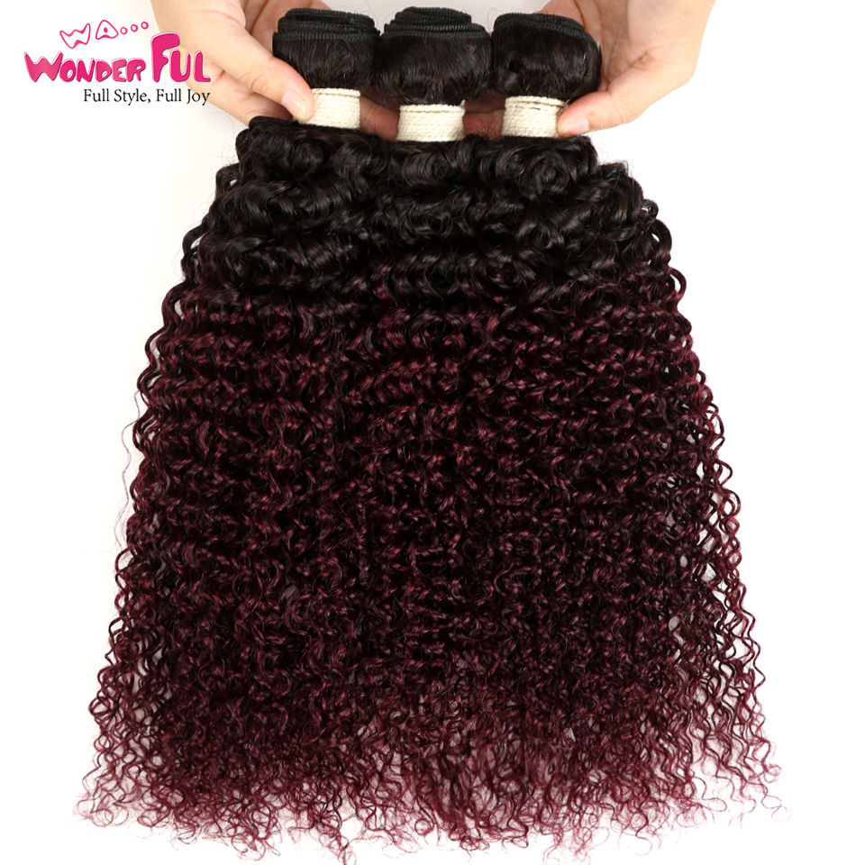 Human Hair Weaves Brave Ombre Malaysian Kinky Curly Bundles 1/3/4 Pcs Non Remy 100% Human Hair Bundles 2 Tone Color T1b/99j# Quality First