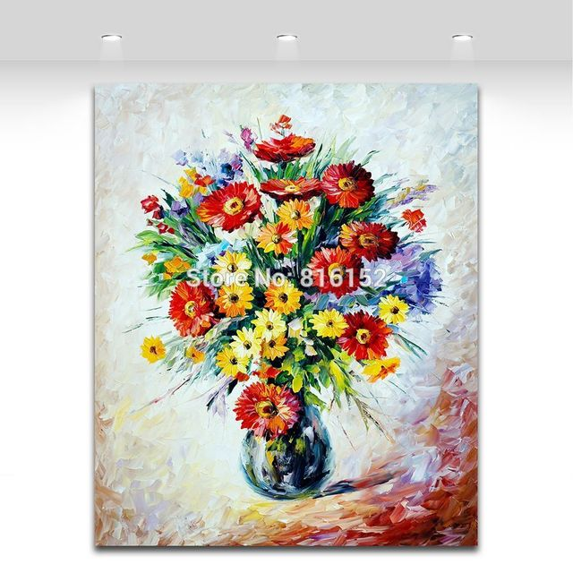 Palette Knife Printed On Canvas Painting Flower Bouquet in Vase ...