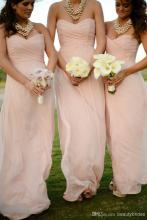 Cheap Pink Long Chiffon Bridesmaid Dresses 2016 Pleated Zipper Back Summer Beach Bridesmaid Gowns With Sweetheart Neck B69