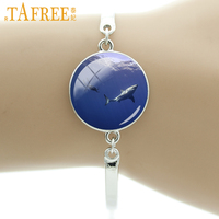 TAFREE brand charms white shark swimming under the blue sea bracelet scuba diver and shark jewelry special diving gifts E973