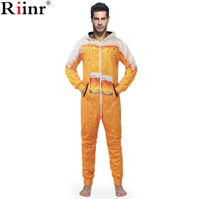 5a172c3039 Riinr 2018 New Arrival Funny Adult 3D Printing Pajamas Costume Cosplay Beer  Creative Printed Onesies Sleepwear Mens Pajamas Sets