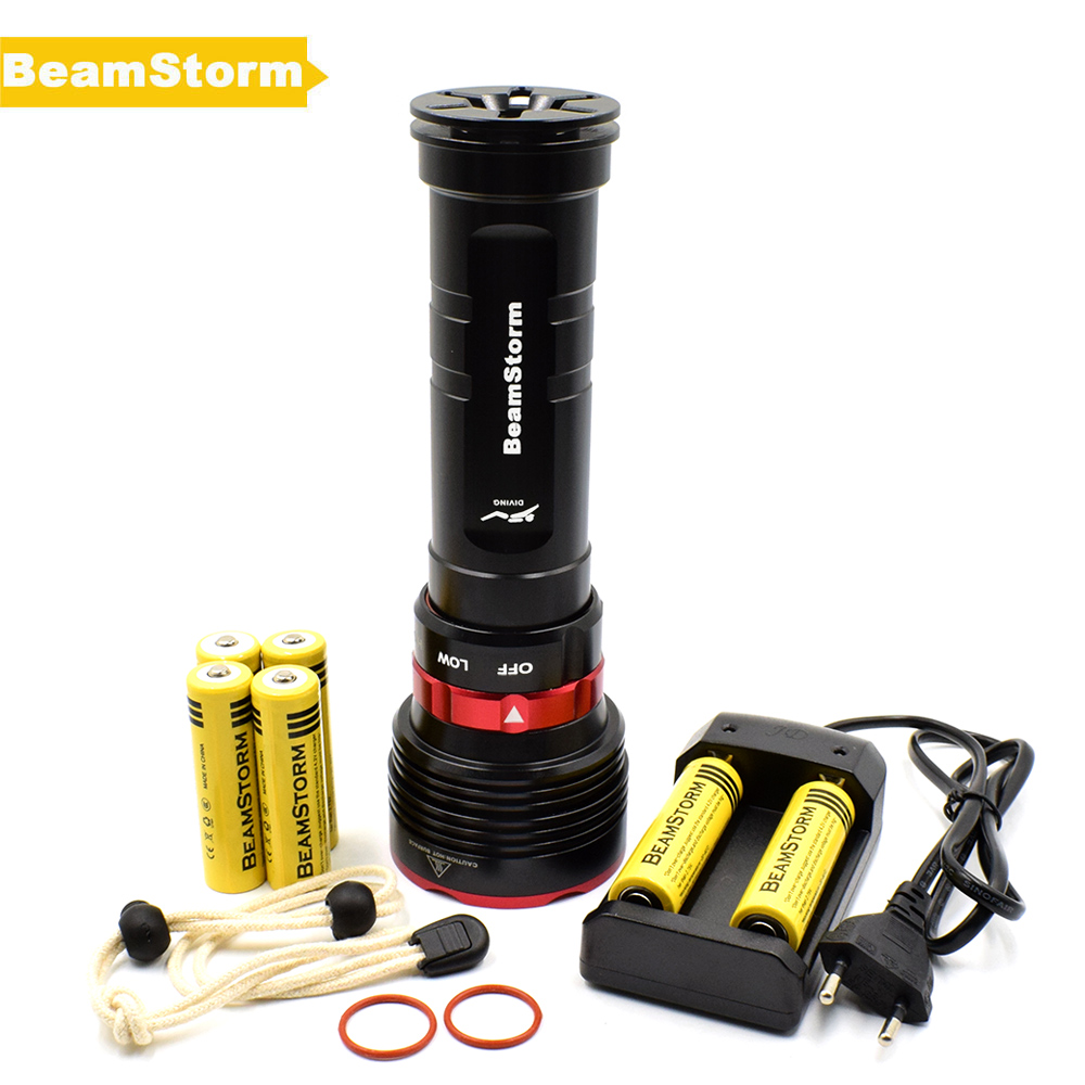 BeamStorm DX5S Professional LED Diving Flashlight Underwater 100m Dive Light High Power 5*XM-L L2 6000 Lumens Power By 18650 supfire d6 160m underwater professional explosion proof strong diving led light flashlight grade exibii bt4 by 18650 battery