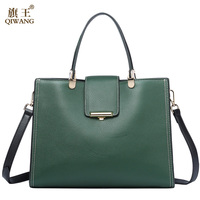 Genuine Leather Bag For Women Green Tote Bags Brand Quality Purse And Handbags Large Summer Cow Bags for Women