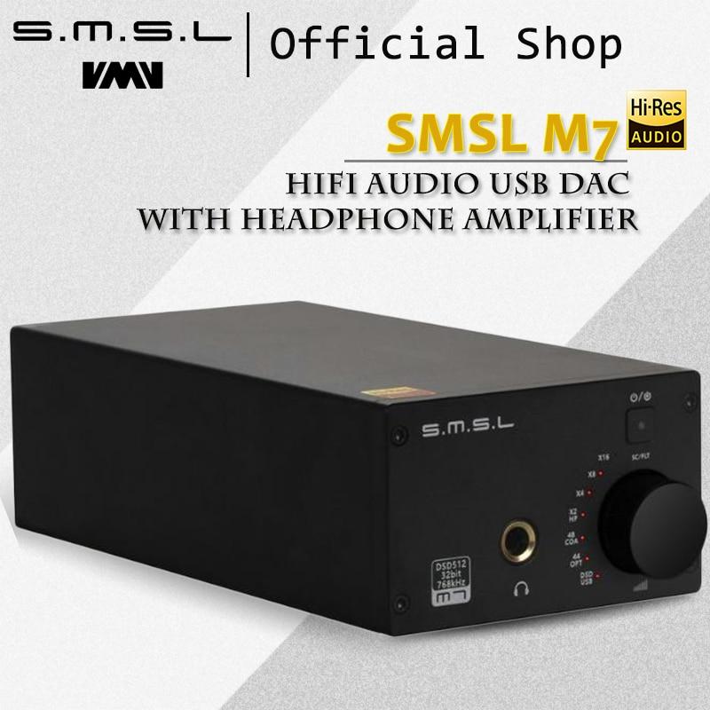 SMSL M7 Hifi Audio USB DAC with Headphone Amplifier Native DSD512 Optical Coaxial USB Input 110V/220V RCA 2xAK4452 32Bit/768KHz