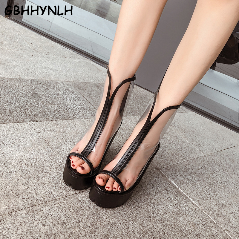GBHHYNLH gladiator sandals open Toe womans sandals summer woman shoes High Heels Female Transparent shoes white Boots LJA731