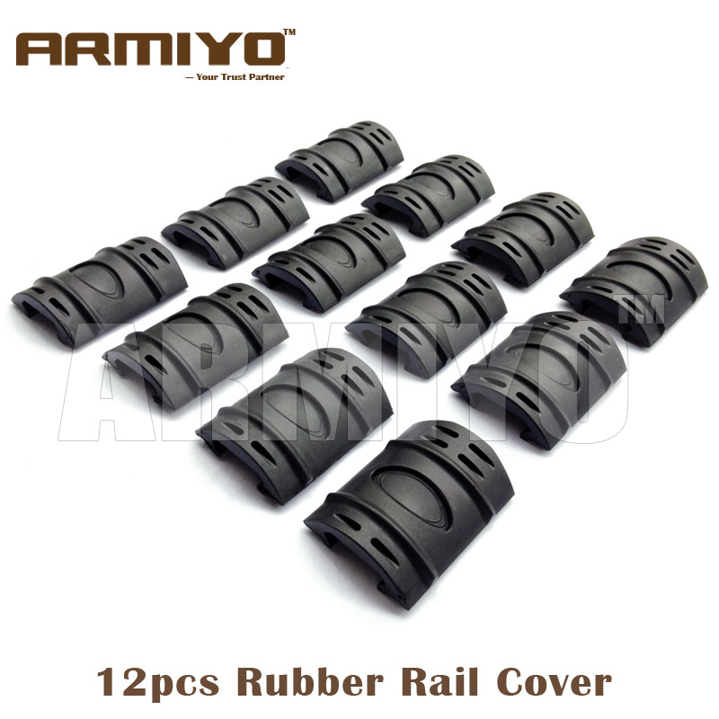 Armiyo 12pcs/pack Rubber Rail Handguard Cover Mount Fit 20mm Rail Hunting Gun Accessories Black / Army Green / Dark Earth