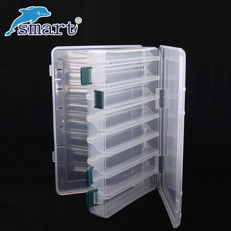 Caja De aparejos De Pesca a prueba De agua doble cara 12 compartimentos cajas De Señuelos De Pesca Caja Pesca accesorios maleta De piel