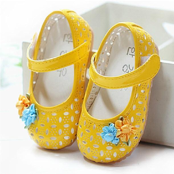Cute Kidschildren Baby Girls Toddler Sandal Shoes, Pinkwhiteyellow Princess Hole -3325