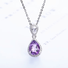 fine jewelry gemstone classic 925 sterling silver natural  purple crystal amethyst charm necklace pendant for female
