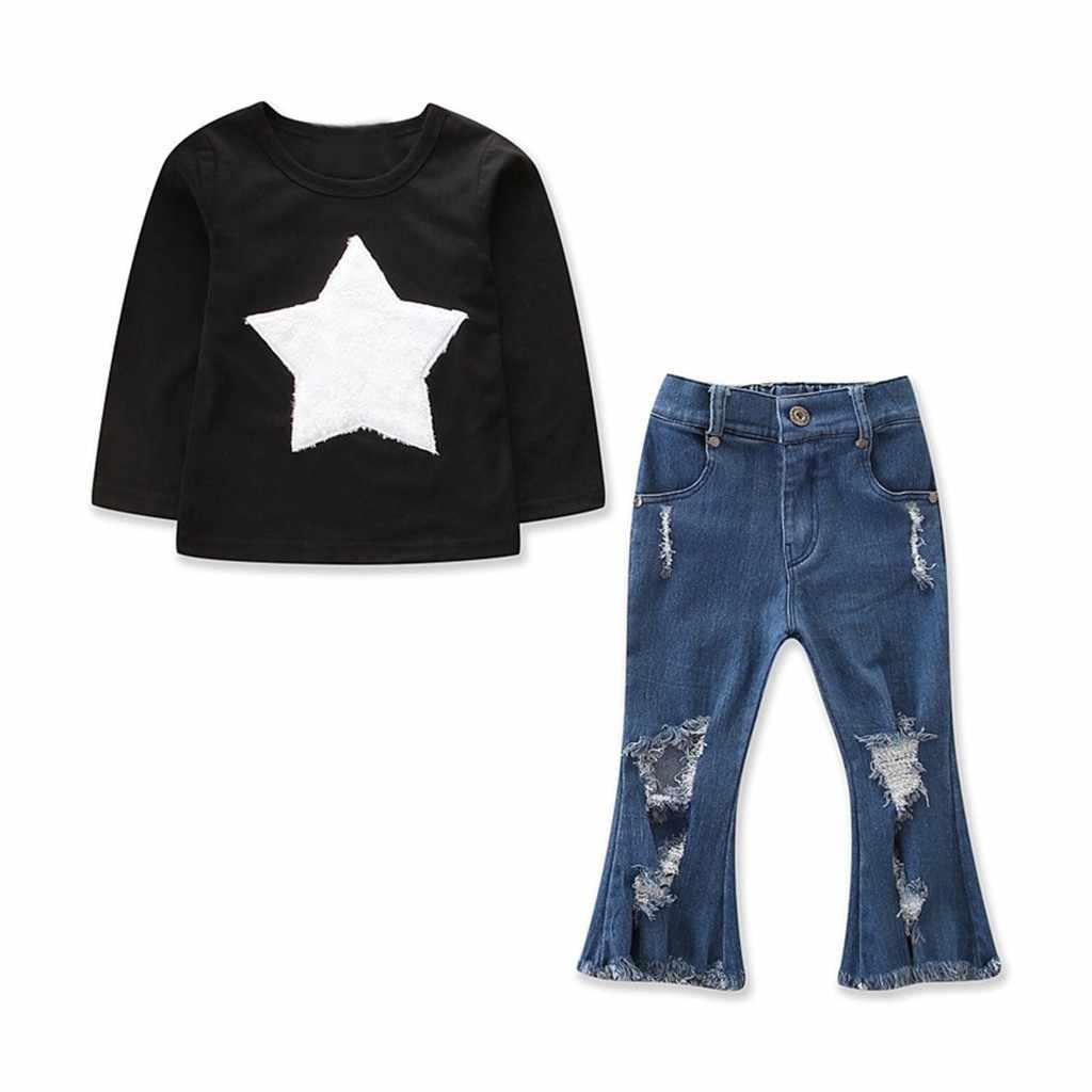 Одежда для девочек, свитер, комплекты одежды детский топ с длинными рукавами и принтом звезд + рваные расклешенные джинсы, комплект одежды