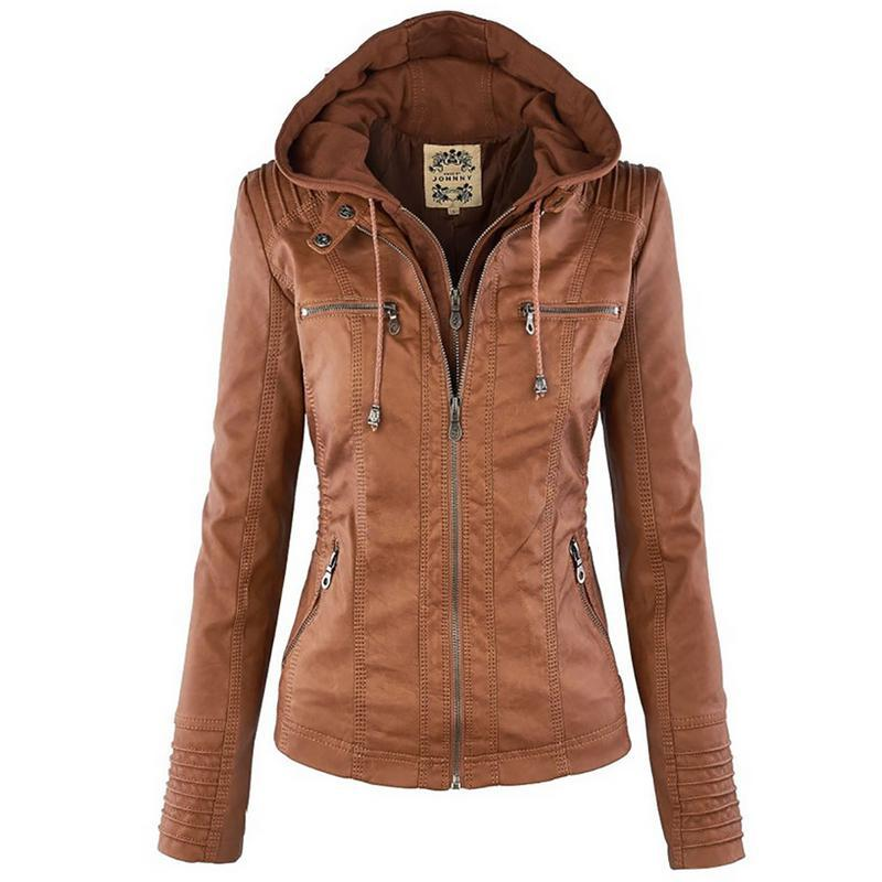 2018 Fashion Winter Faux Leather   Jacket   Women   Basic     Jackets   Hooded Black Slim Motorcycle   Jacket   Outwear Coats Female XS-7XL