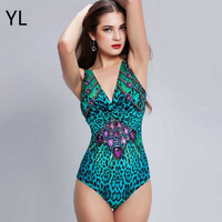 Brand High Quality 3D Printed Swimwear Women Sexy Deep V Leopard One Piece Swimsuit Bodysuit Brazilian Bathing Suit Beachwear XL