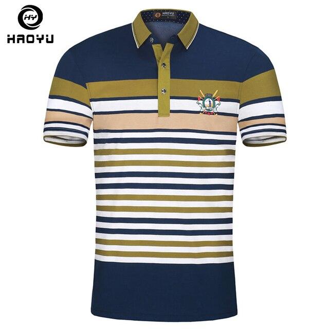 3b020ad5ed6 Moda nueva marca camisa de Polo para hombre Polos algodón Camisetas manga  corta talla grande Haoyu famosa