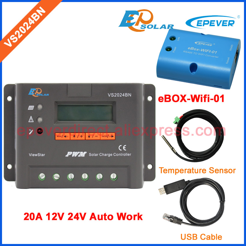 eBOX-Wifi-01 and USB communication cable PWM Solar battery Regulator Power controller VS2024BN 20A 20amp with temperature sensoreBOX-Wifi-01 and USB communication cable PWM Solar battery Regulator Power controller VS2024BN 20A 20amp with temperature sensor