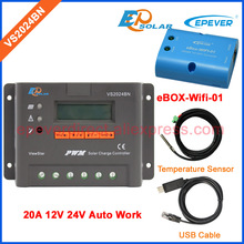 eBOX-Wifi-01 and USB communication cable PWM Solar battery Regulator Power controller VS2024BN 20A 20amp with temperature sensor