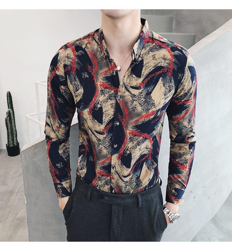 Casual Shirt Menswear Long sleeve Blouse Men 39 s clothing Social Shirts Male Slim Fit Korean style Blue Red in Casual Shirts from Men 39 s Clothing