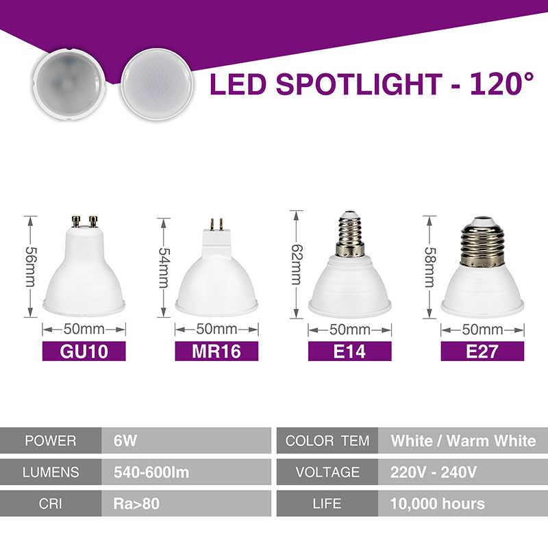 10 יחידות GU10 MR16 LED הנורה זרקור 220 v 6 w SMD2835 שבב קרן זווית 120/24 פלסטיק אלומיניום זרקור אנרגיה חיסכון בית תאורה