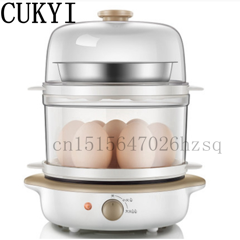 CUKYI Multifunctional Electric 14 Egg Boilers WITH Frying pan Mini Steamer kitchen helper 360W 220V edtid multifunctional electric cooker mini heat pan students hot pot without oil fume nonstick frying pan special offer