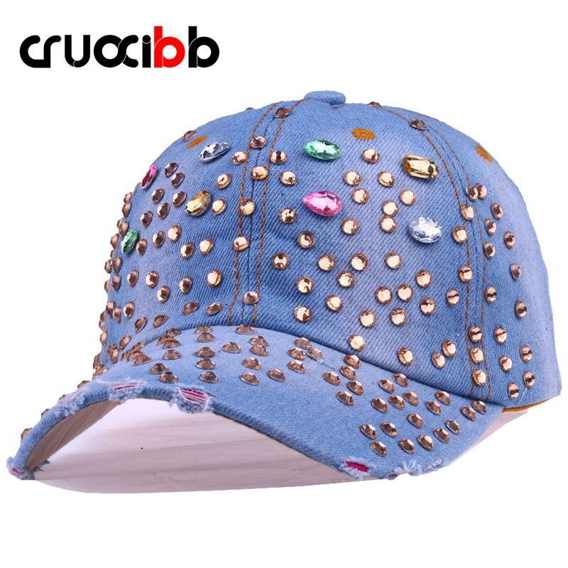 Prix pour CRUOXIBB Coloré Teardrop Cristal Casquette de baseball Femmes Cowboy Chapeau Strass Hip Hop Snapback Casquettes Pour Femmes Denim Cap Gorro